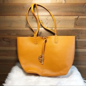 BCBG Orange Pebbled Leather Large Paris Tote